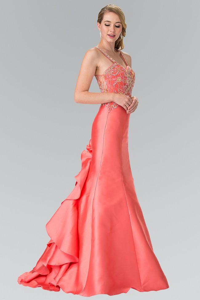 Elizabeth K - Beaded Sweetheart Ruffle-Back Mikado Dress GL2214SC