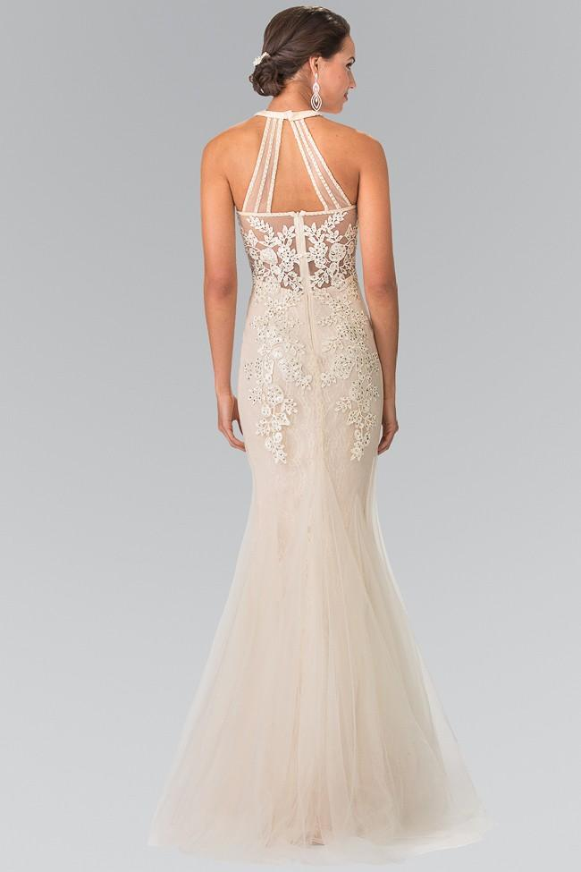 Elizabeth K Bridal - Halter Lace Mermaid Evening Dress GL2243SC