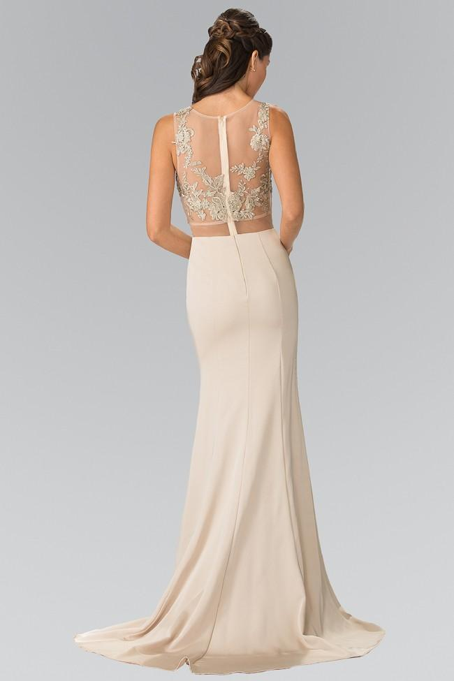 Elizabeth K - Two-Piece Illusion Waistline Embroidered Gown GL2247SC