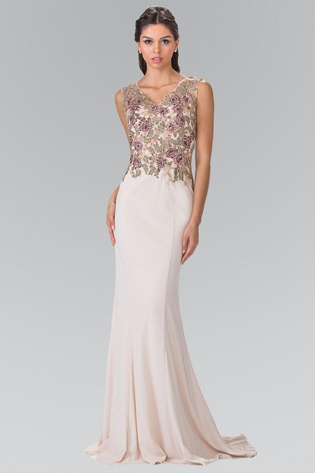 Elizabeth K - Embroidered V Neck Jersey Evening Dress GL2270SC