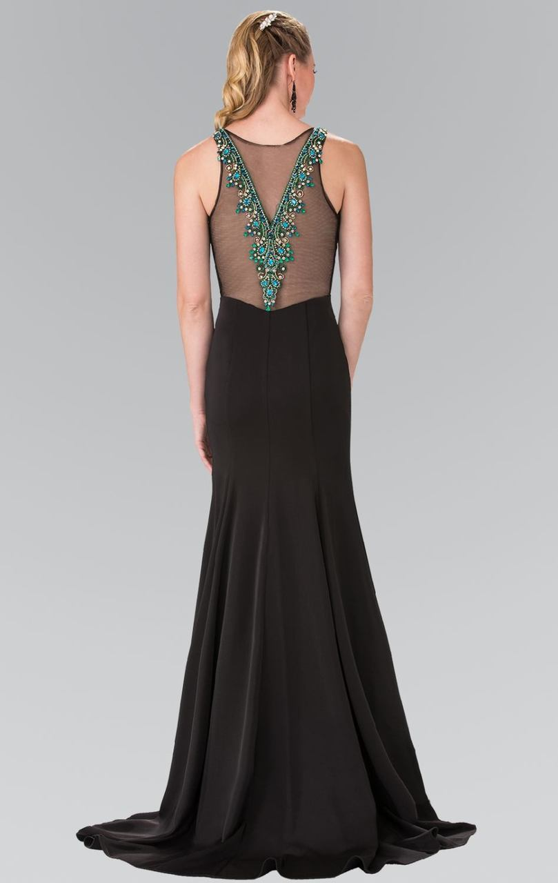 Elizabeth K - Beaded Illusion V-Neck Evening Dress GL2310SC