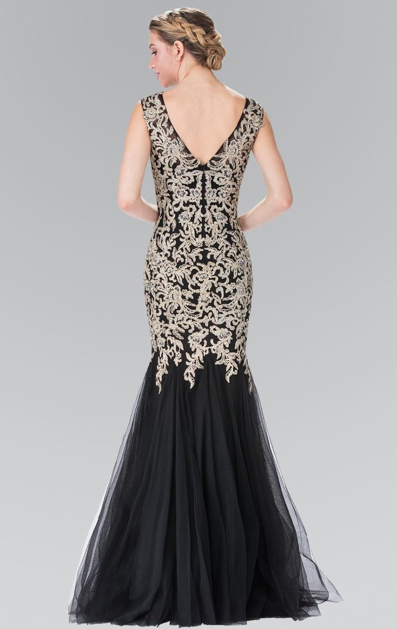 Elizabeth K - Embroidered Jersey Tulle Evening Dress GL2319SC