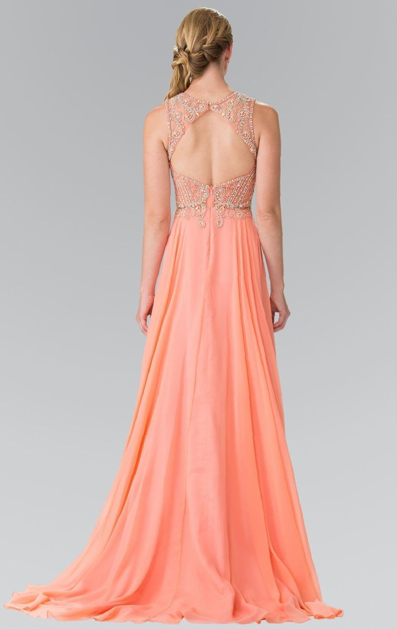 Elizabeth K - Jeweled Sleeveless Cutout Back A-Line Gown GL2343SC