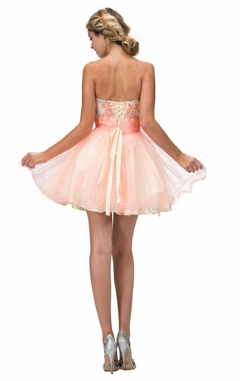 Elizabeth K - Beaded Lace Sweetheart Flared Tulle Short Dress GS2131SC