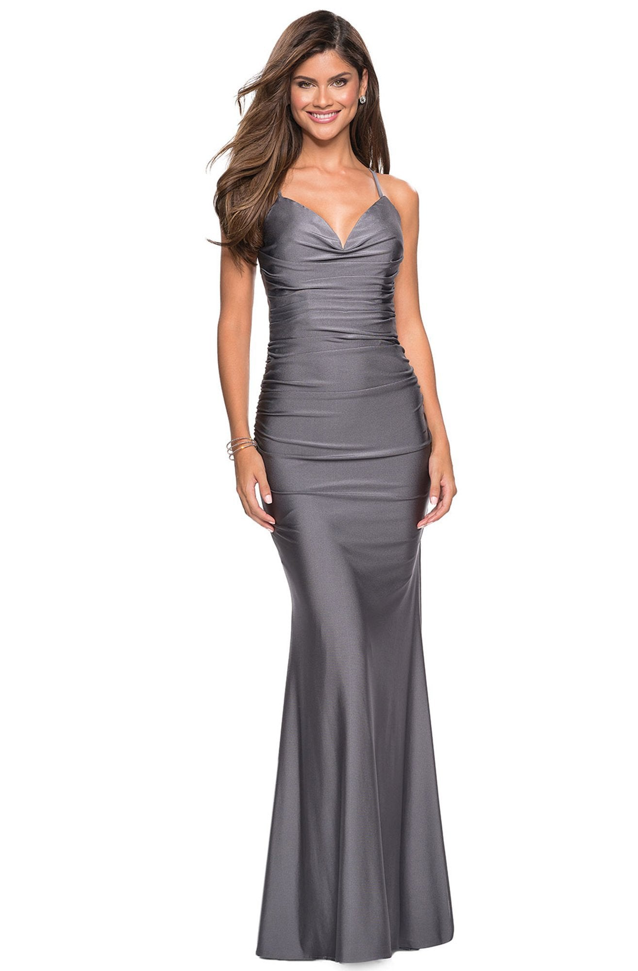 La Femme - Ruched Sweetheart Trumpet Evening Gown 27501 In Gray