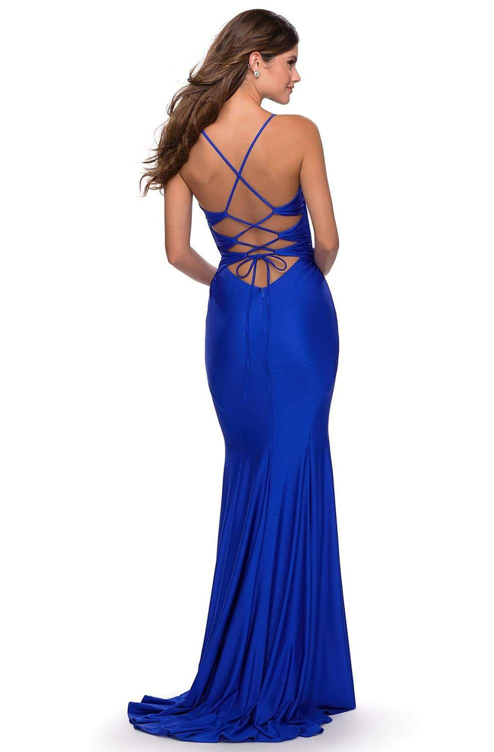 La Femme - 28574SC sheer Plunging Neck Strappy Open Back Trumpet Dress