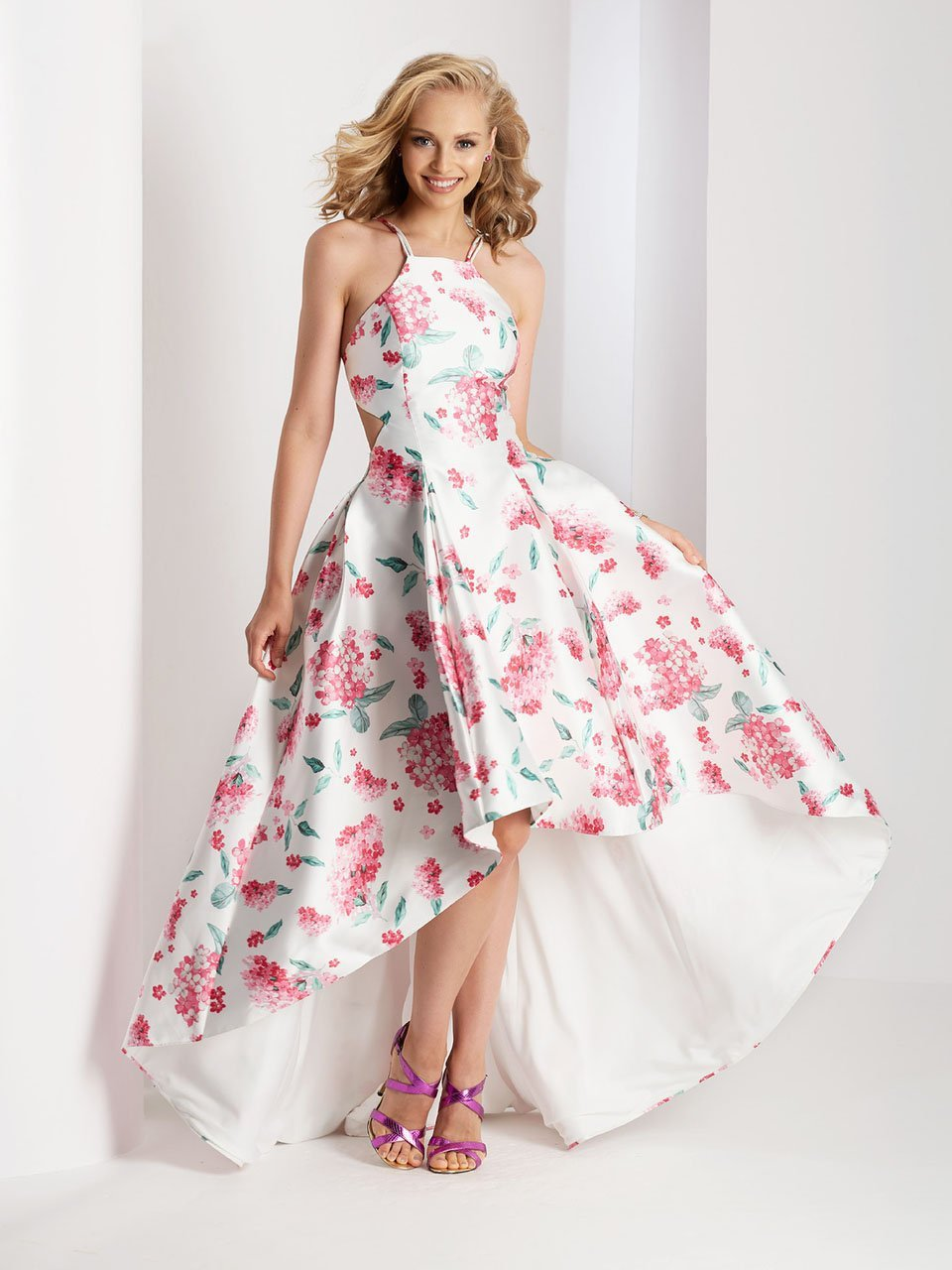 Clarisse Prom - 3564 Halter Floral High Low Prom Dress in White and Print
