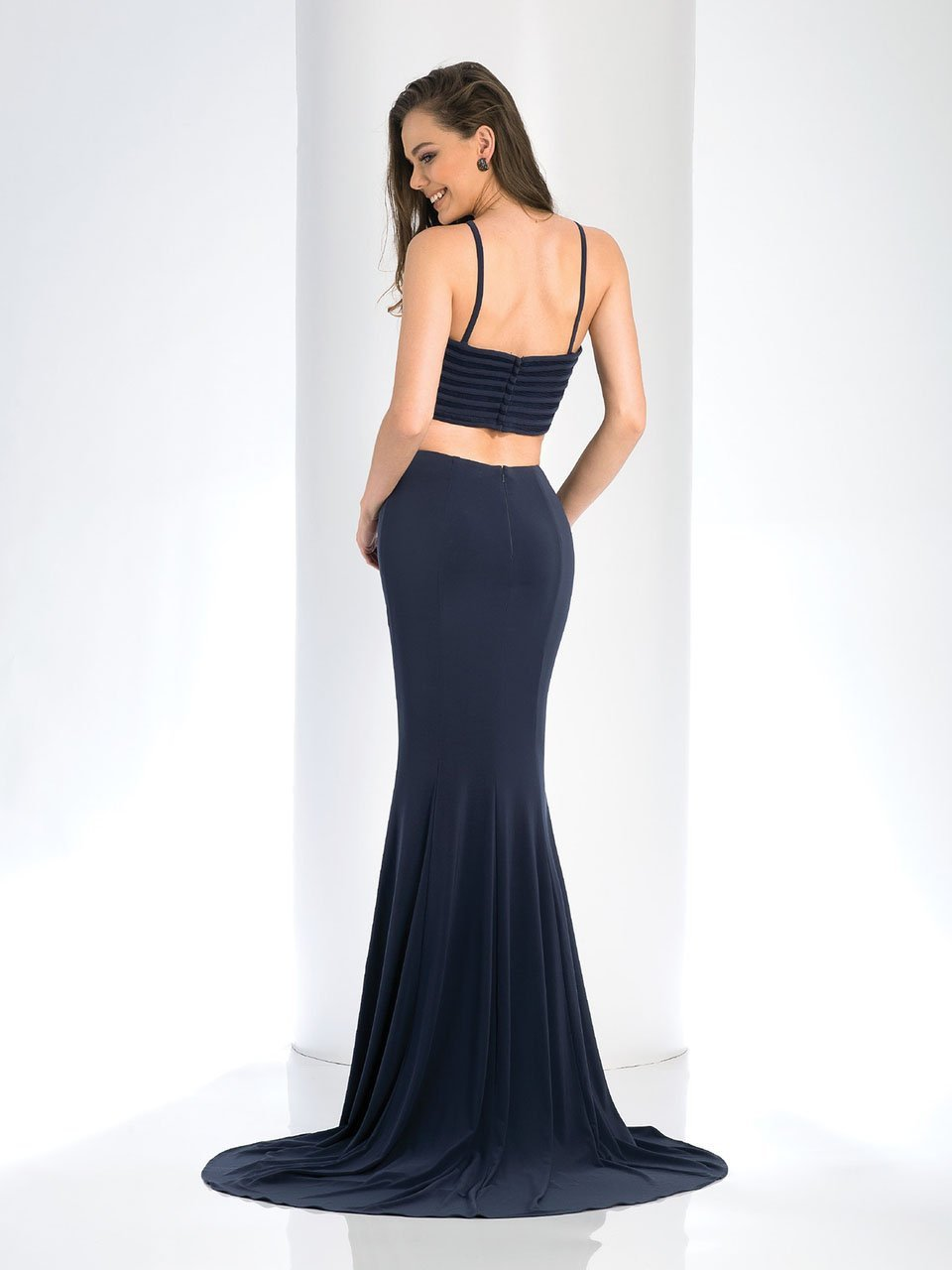 Clarisse Prom - 3559 Two Piece Halter Mesh Evening Dress in Gray