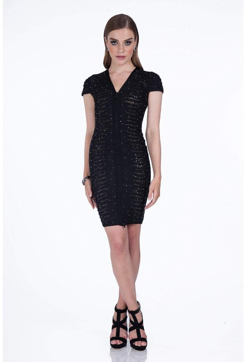 Terani Couture - 1611C0011A Bedazzled V-Neck Sheath Dress in Black