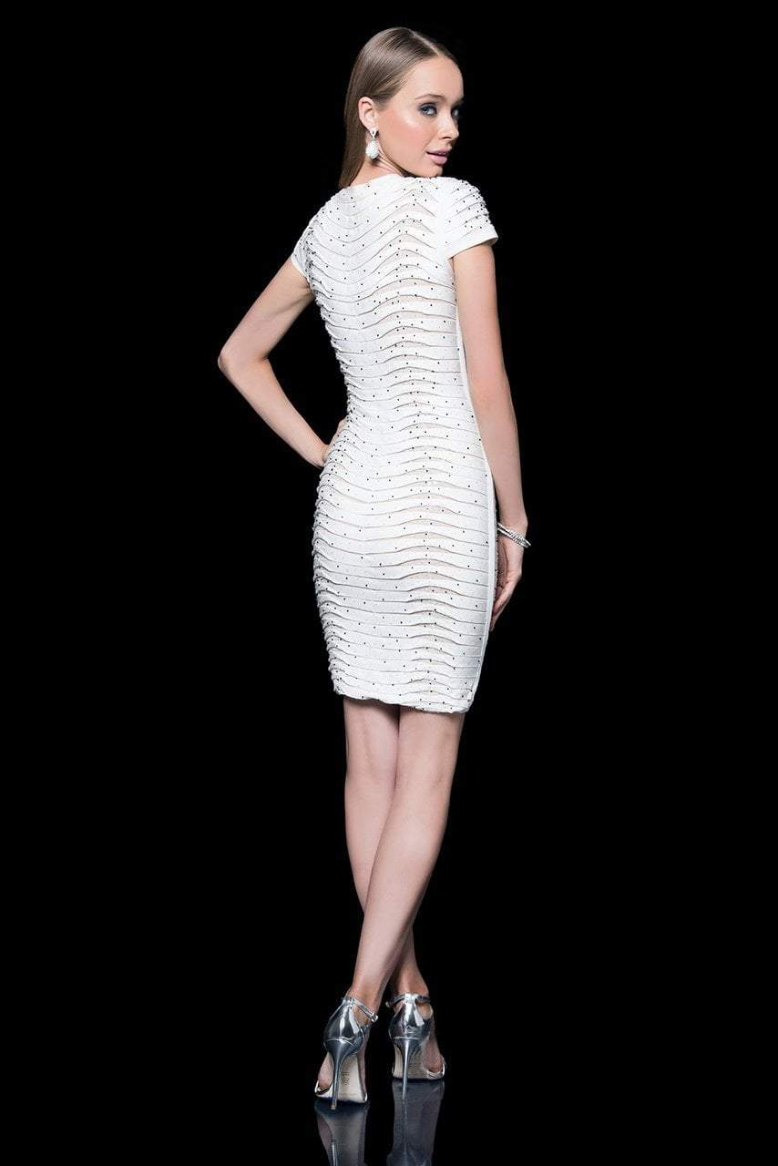 Terani Couture - 1611C0011A Bedazzled V-Neck Sheath Dress in White