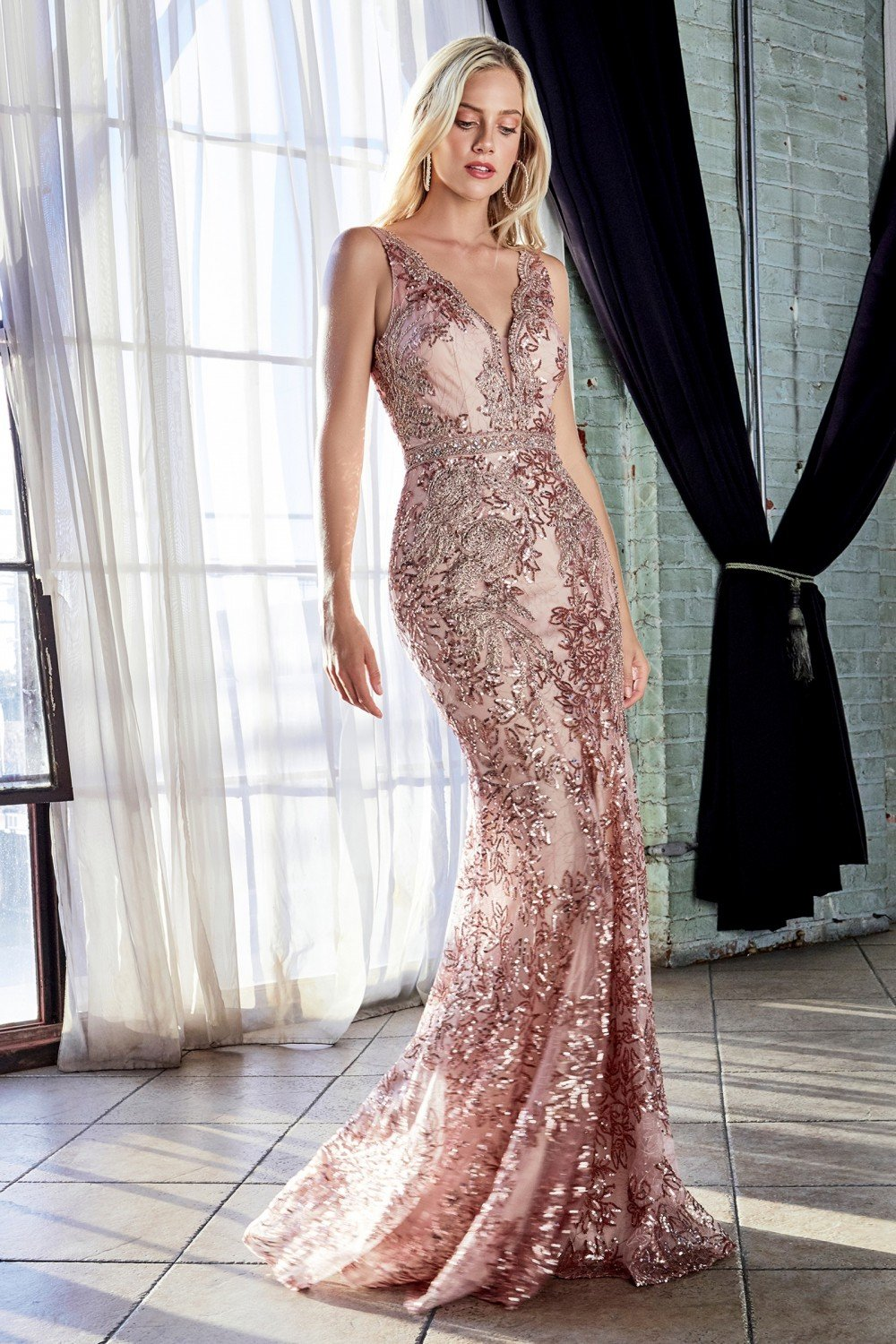 Cinderella Divine - HT062 Fitted Lace Sequined V-neck Trumpet Silhouette Gown In Pink and Gold