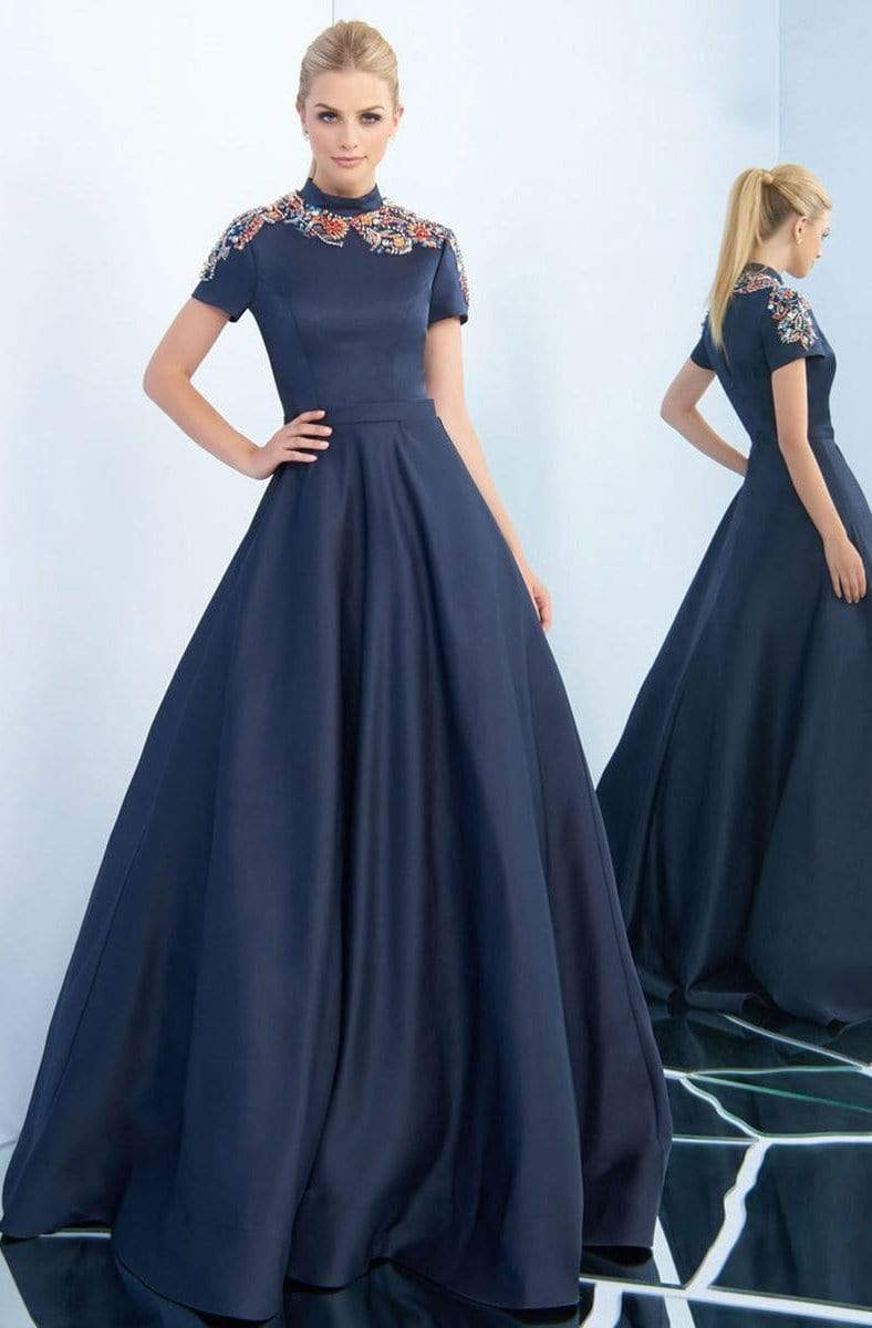 Ieena Duggal - 25809I High Collar Embellished Satin Ballgown Special Occasion Dress 0 / Midnight Blue