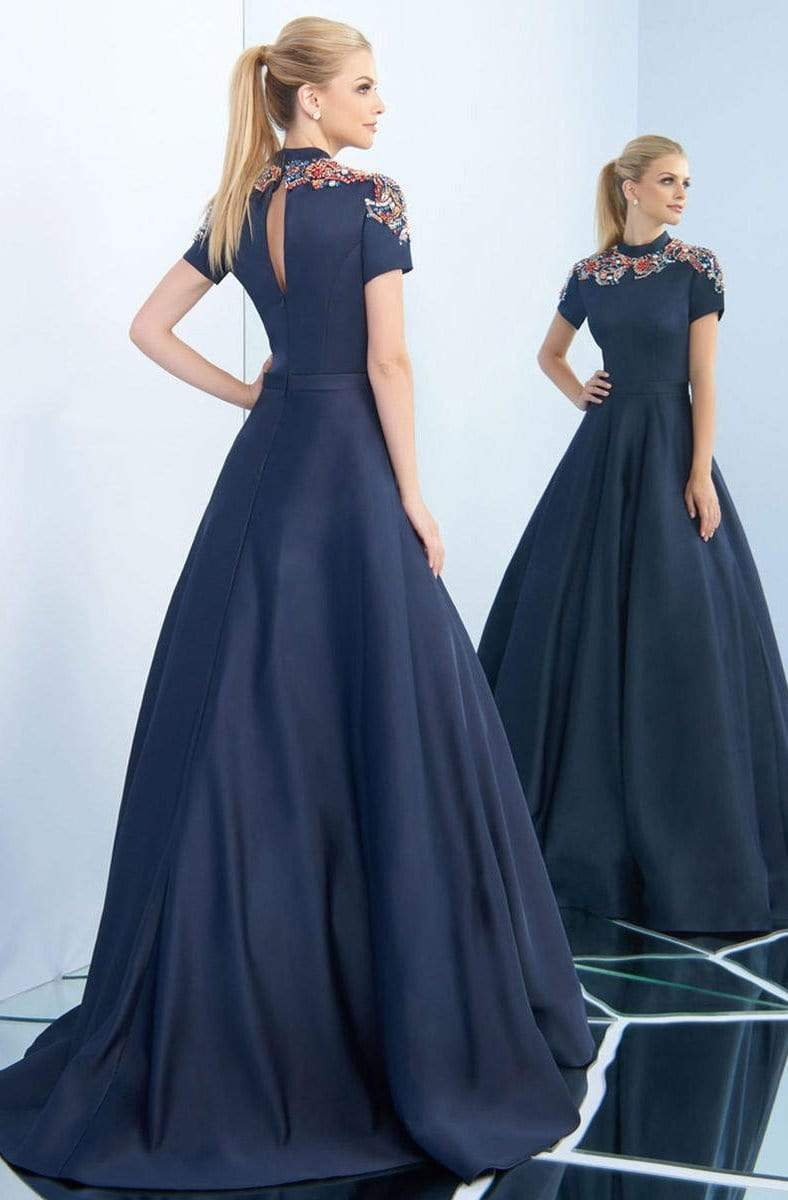 Ieena Duggal - 25809I High Collar Embellished Satin Ballgown Special Occasion Dress