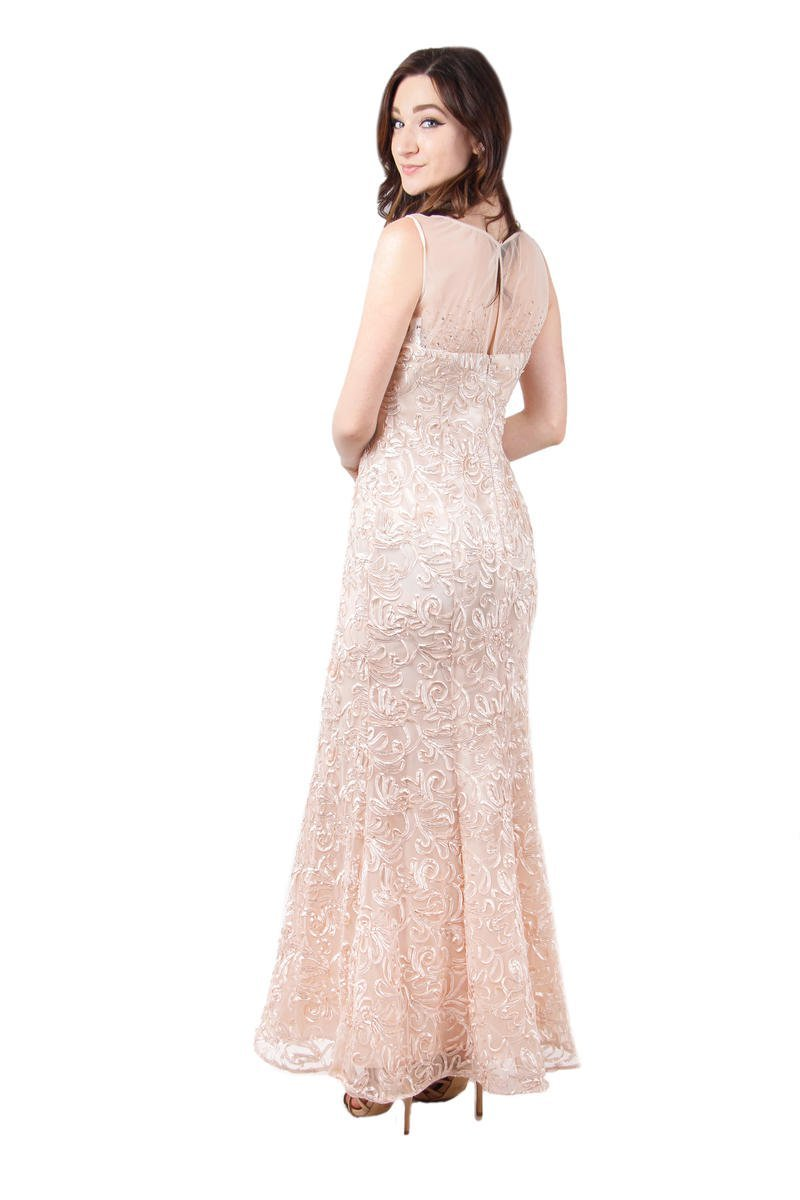Ignite Evenings - 3530 Illusion Shoulders Embellished Trumpet Gown in Pink