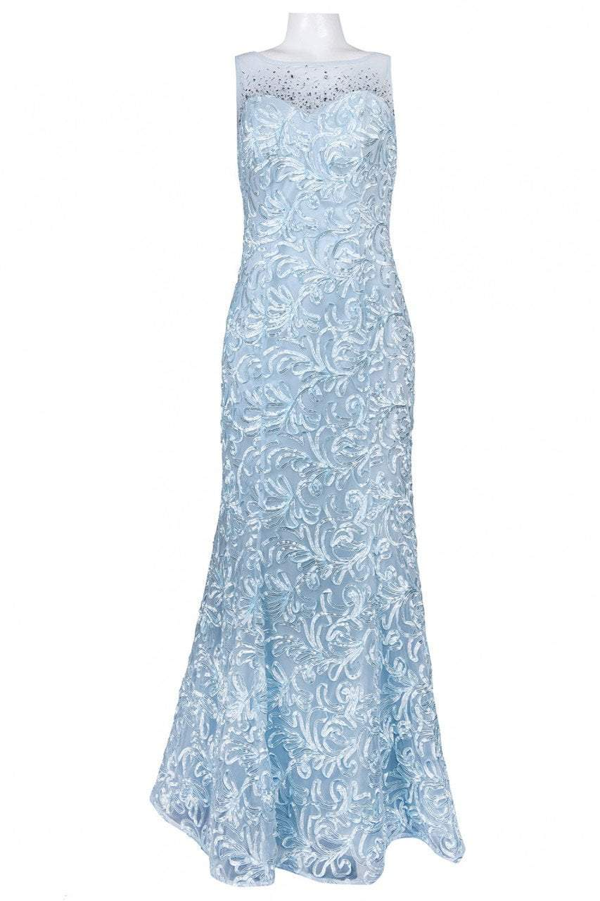 Ignite Evenings - 3530 Illusion Shoulders Embellished Trumpet Gown in Blue