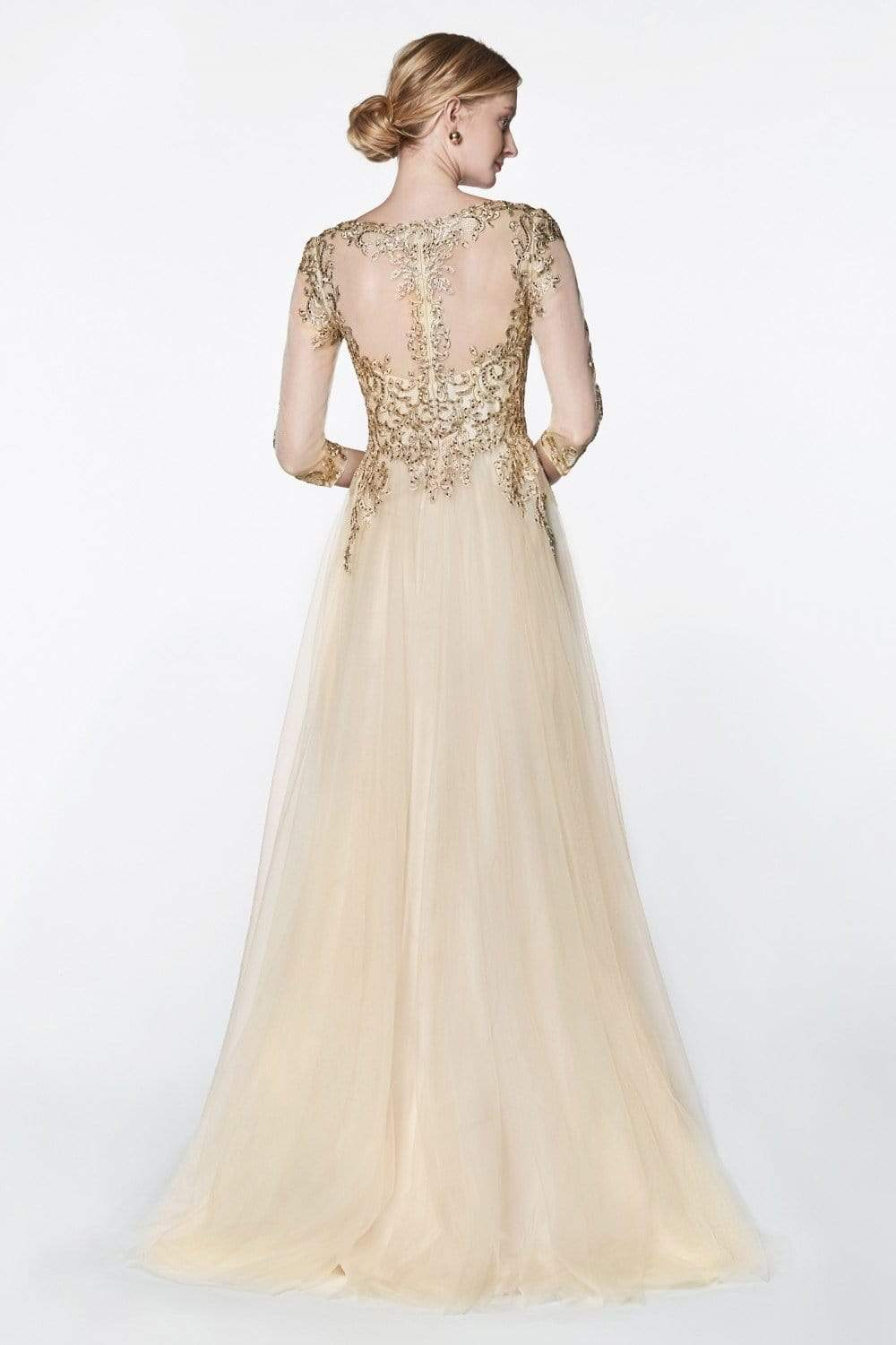 Cinderella Divine - OC003 Beaded Lace V-Neck Evening Dress Special Occasion Dress