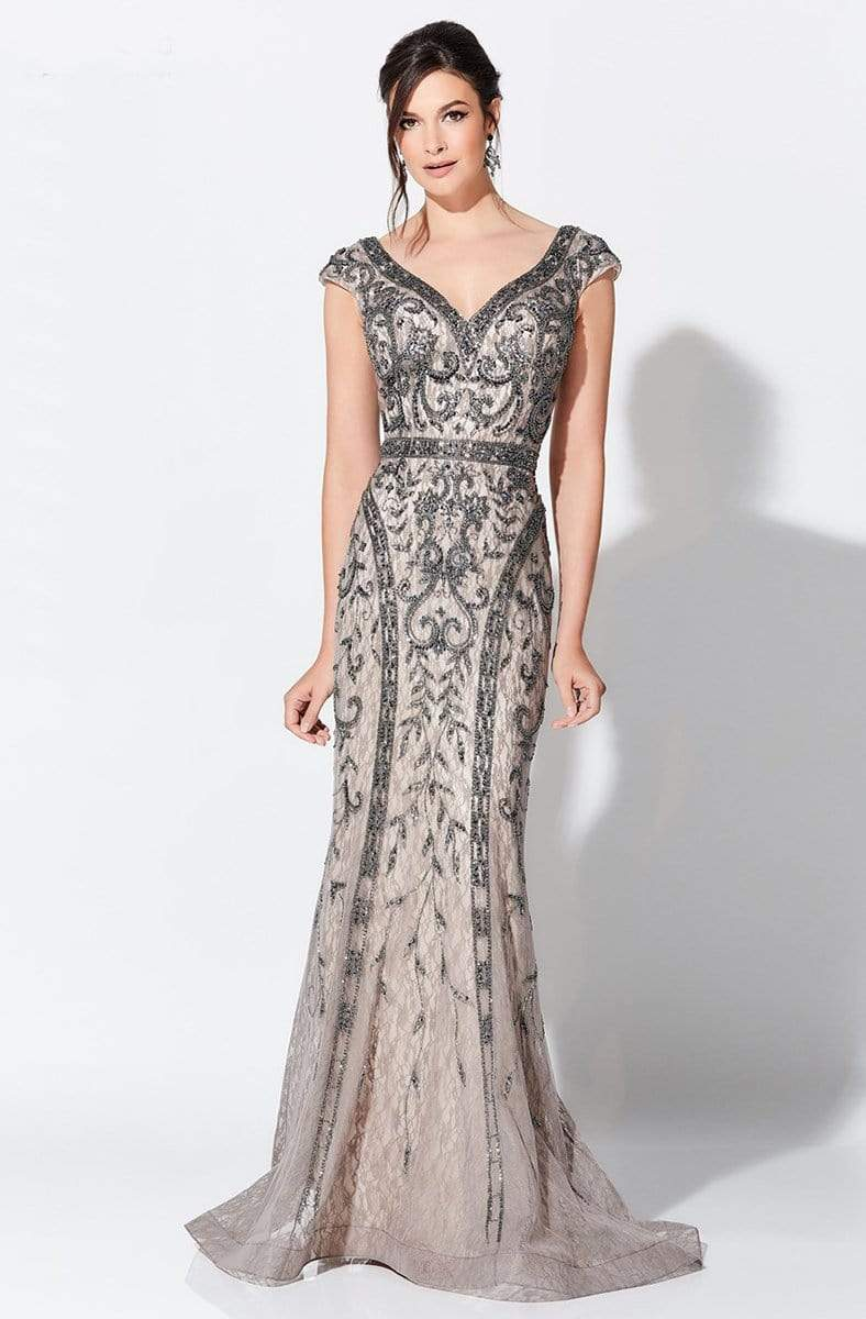 Ivonne D for Mon Cheri - 119D42 Bead Embellished V-Neck Gown Evening Dresses 0 / Smoke/Nude