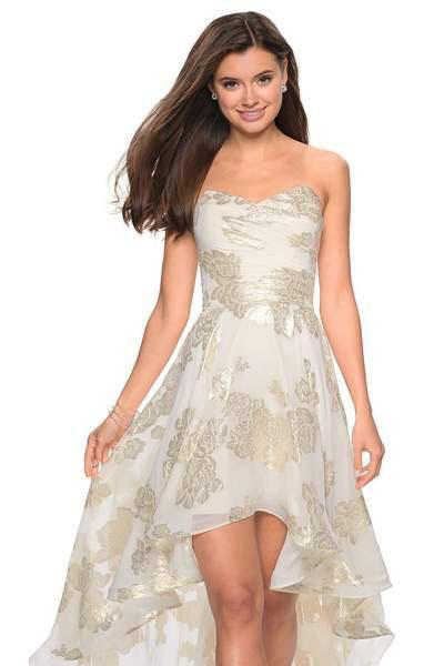 La Femme - 27753 Metallic Floral Print Sweetheart High Low Aline Dress In White and Gold