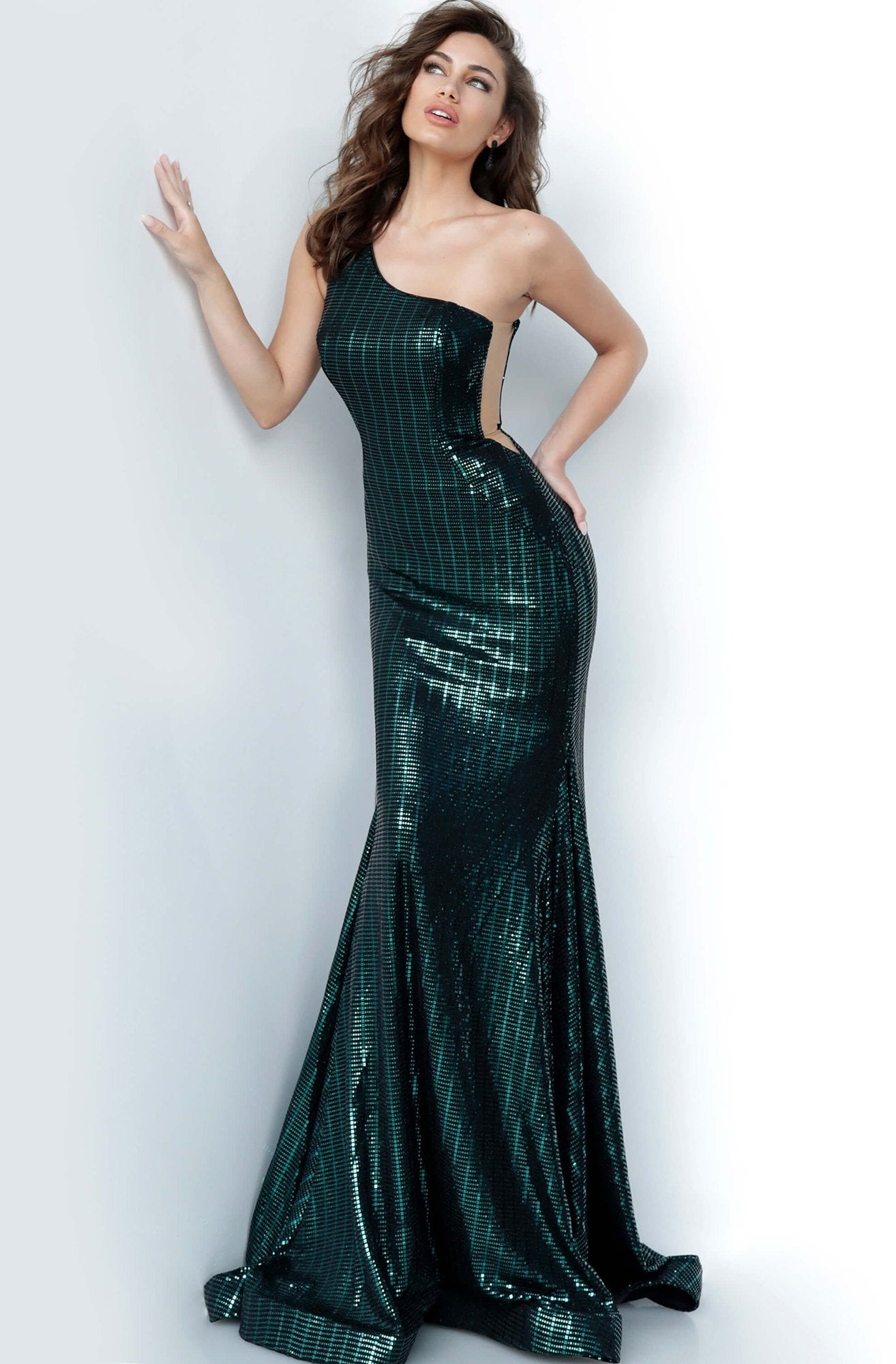 Jovani - 3278 Asymmetrical Trumpet Evening Gown In Green