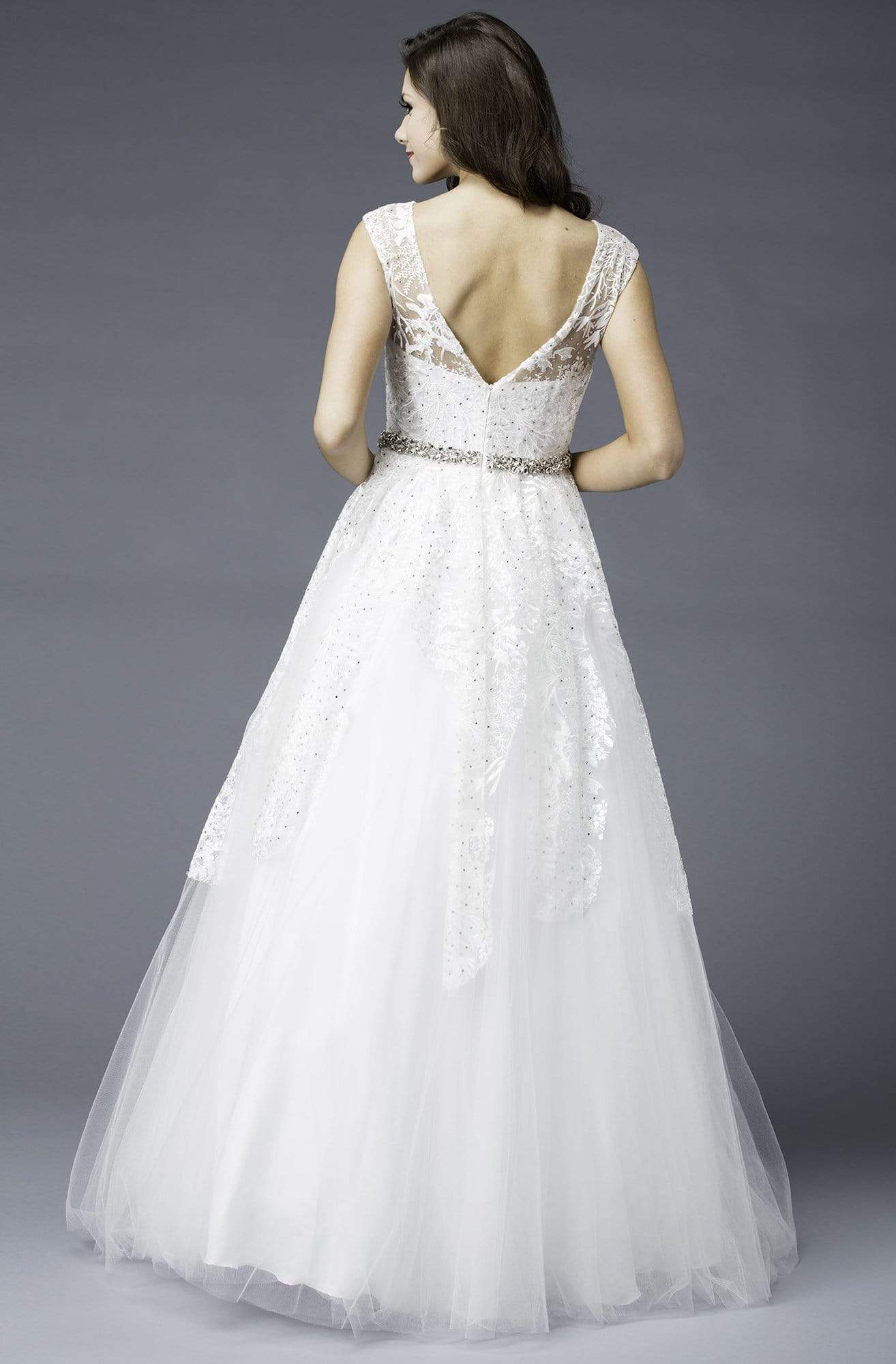 Colors Couture - J034 Embellished Illusion Bateau Ballgown in White