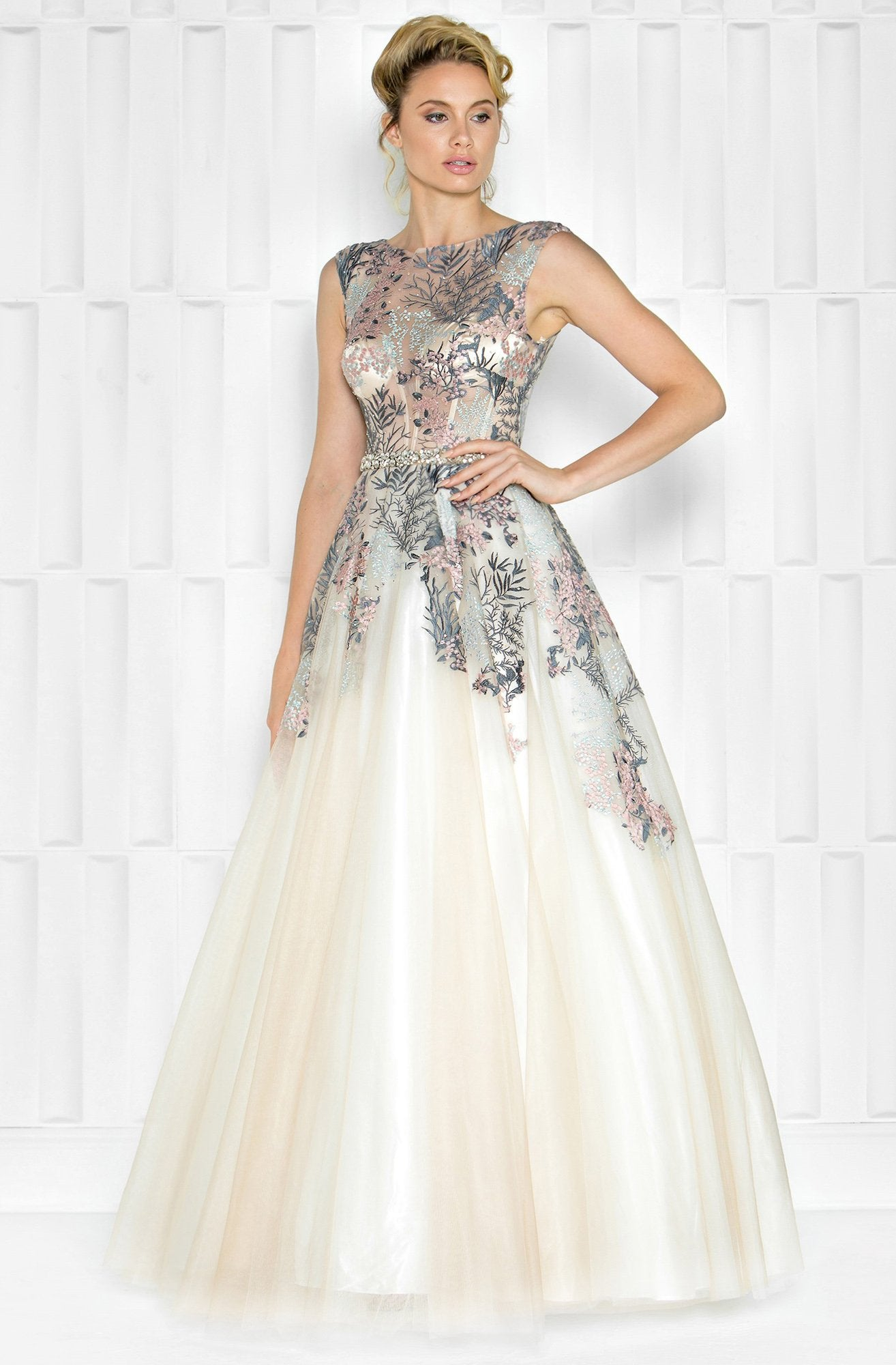 Colors Couture - J034 Embellished Illusion Bateau Ballgown in Neutral and Multi-Color