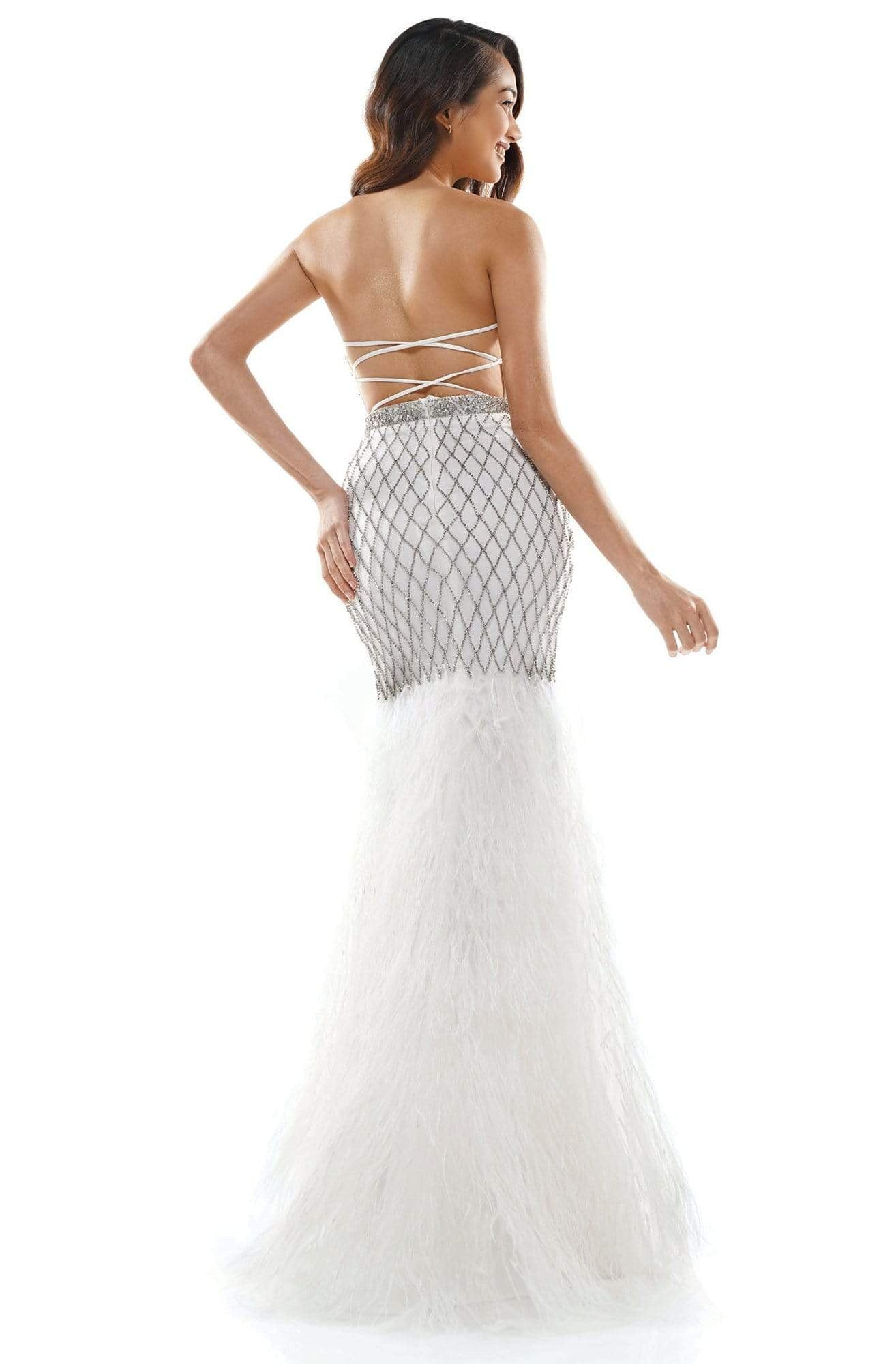 Colors Couture - J135 Strapless Feathered Trumpet Dress in White