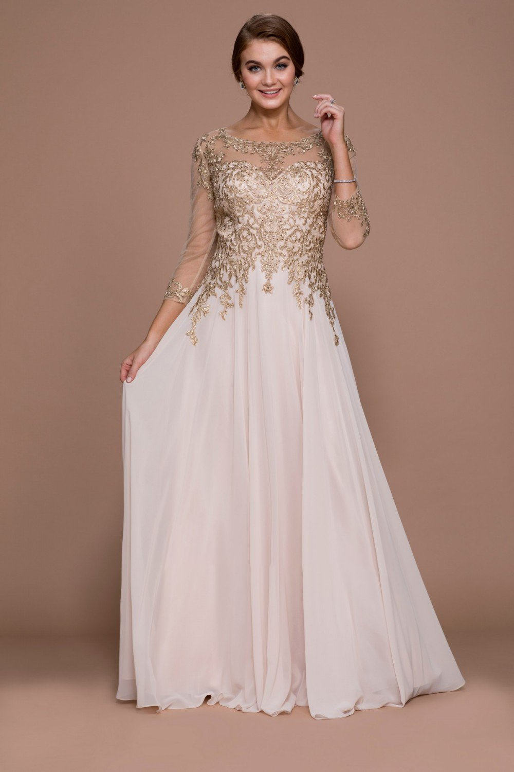 Nox Anabel - Illusion Appliqued A-Line Long Dress J501 In Gold
