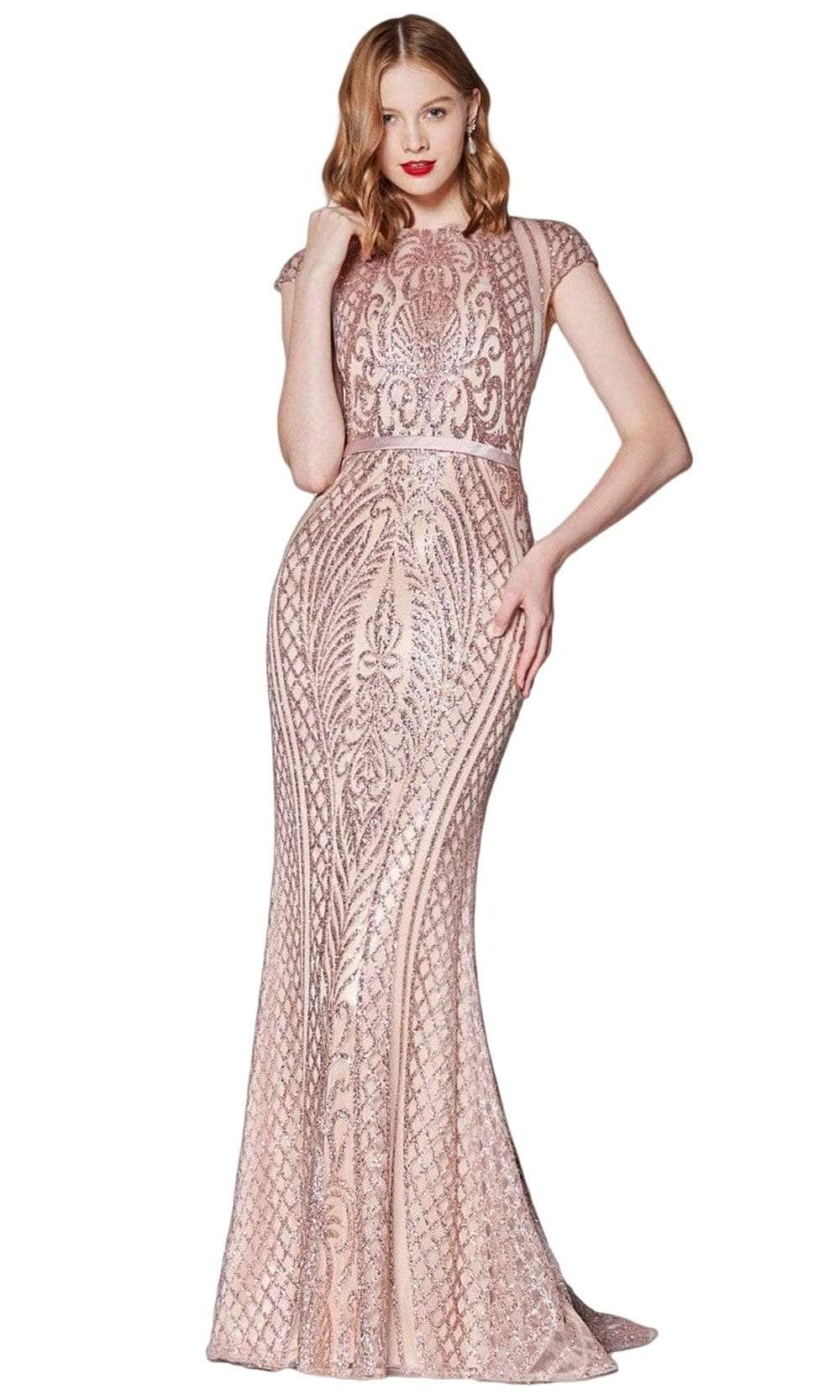 Cinderella Divine - J768 Sequined Cap Sleeve Trumpet Dress In Pink and Gold