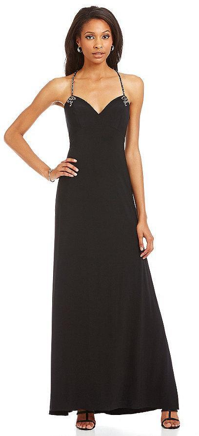 Joanna Chen - Bedazzled Sweetheart Jersey Dress JC1137 in Black