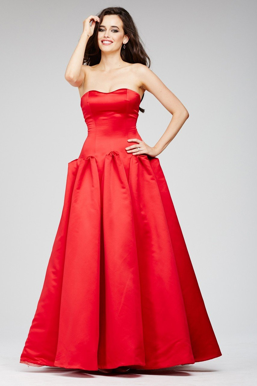 Jovani - 22708 Strapless Sweetheart Godet Pleated A-Line Gown in Red