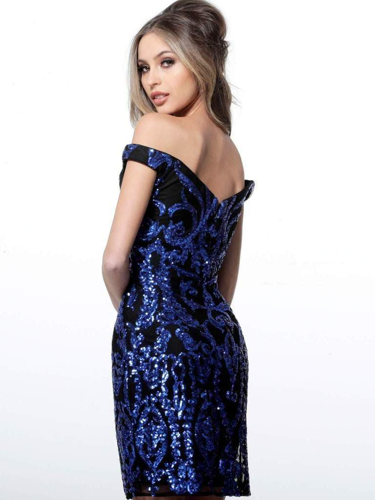 Jovani - 2666 Bead Embellished Plunging Off-Shoulder Dress Special Occasion Dress