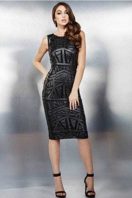 Jovani - Elegant Fitted Short Dress in Geometric Pattern 28742 in Black