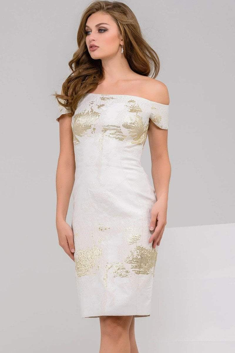 Jovani - 50993 Gold Patched Off Shoulder Cocktail Dress in White and Gold