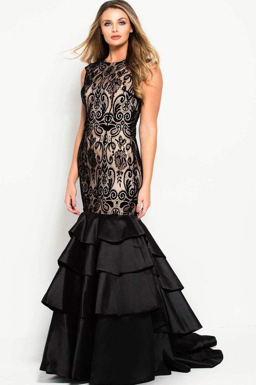 Jovani - 52086 Lace Jewel Neck Tiered Trumpet Dress in Black and Nude