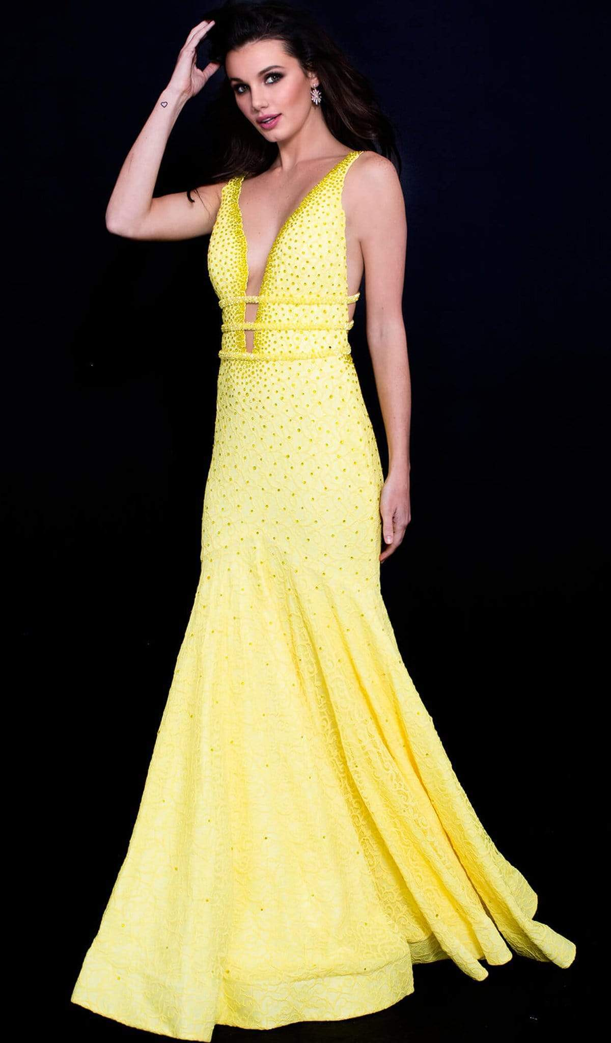 Jovani - 60191 Beaded Strappy Plunging Gown Special Occasion Dress 00 / Yellow
