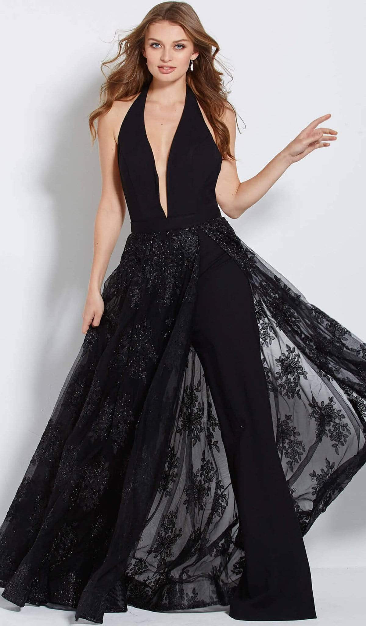 Jovani - 61434 Deep Halter V-neck Jumpsuit With Embellished Overskirt Special Occasion Dress 00 / Black