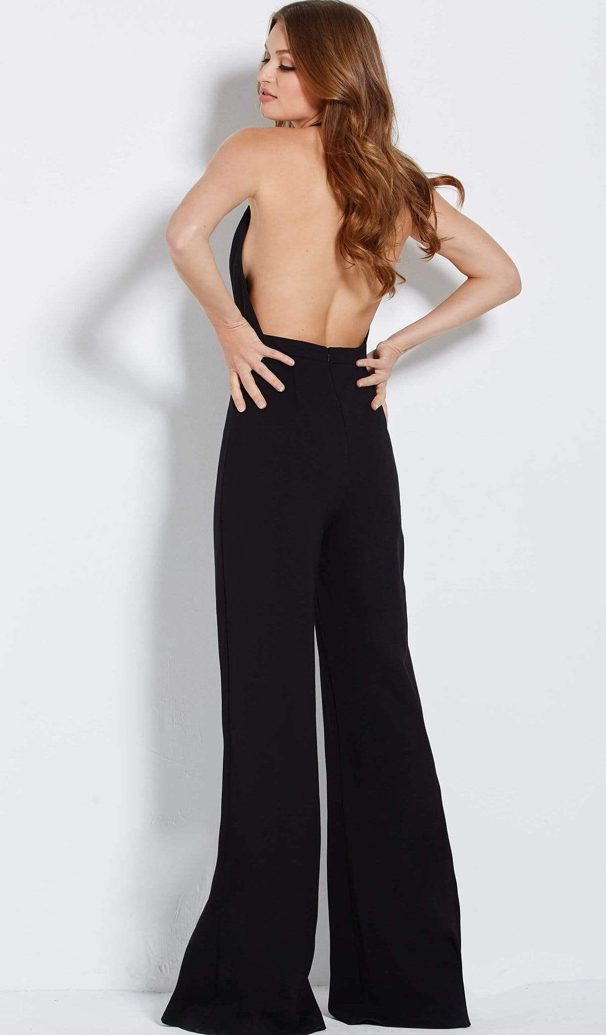 Jovani - 61434 Deep Halter V-neck Jumpsuit With Embellished Overskirt Special Occasion Dress