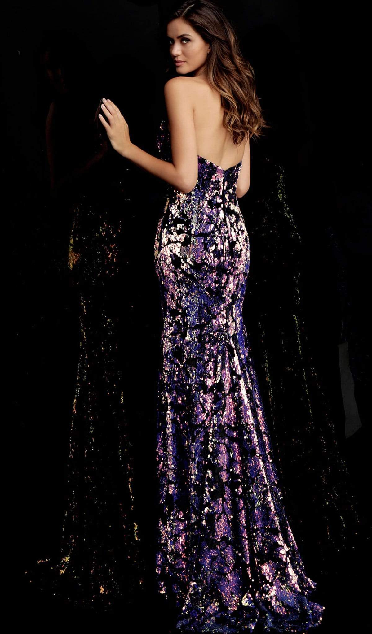 Jovani - 62026 Strapless Sequined Velvet Trumpet Gown Special Occasion Dress