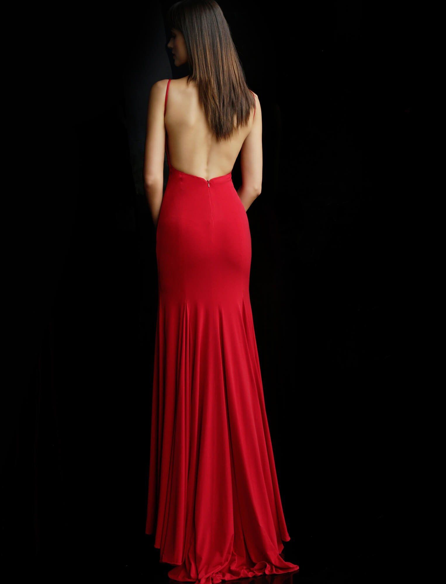 Jovani - Sleeveless Backless Jersey Trumpet Dress 63564  In Red