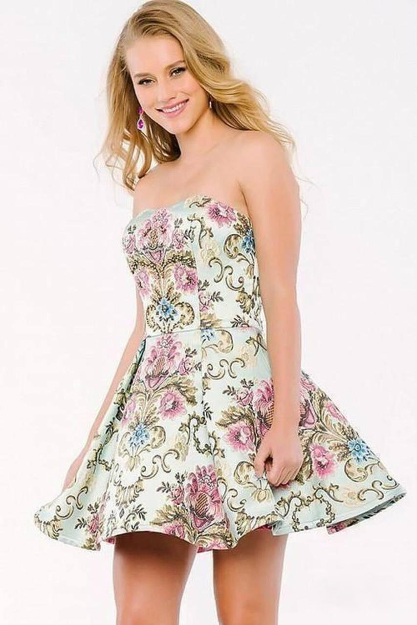 Jovani - Floral Semi-Sweetheart A-Line Dress 41732 in Multicolor