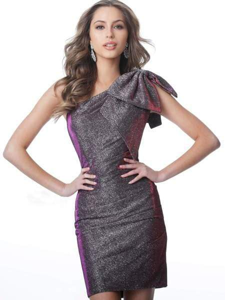 Jovani - JVN2132 Asymmetrical Bowed Cocktail Dress Special Occasion Dress 00 / Purple