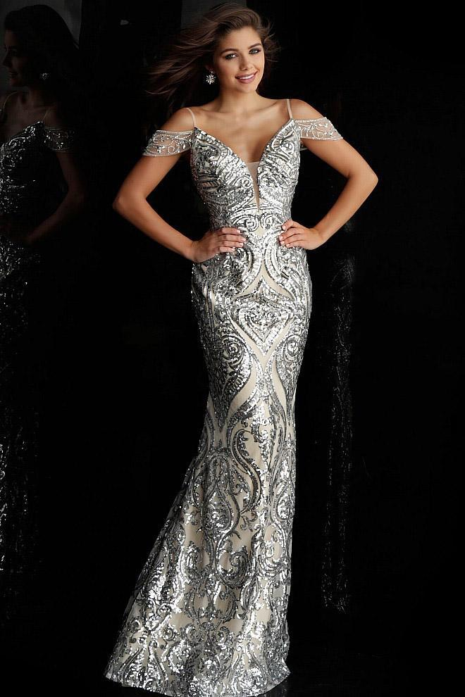 Jovani - Sequined Plunging Off Shoulder Long Gown JVN67256SC CCSALE 4 / Silver/Nude