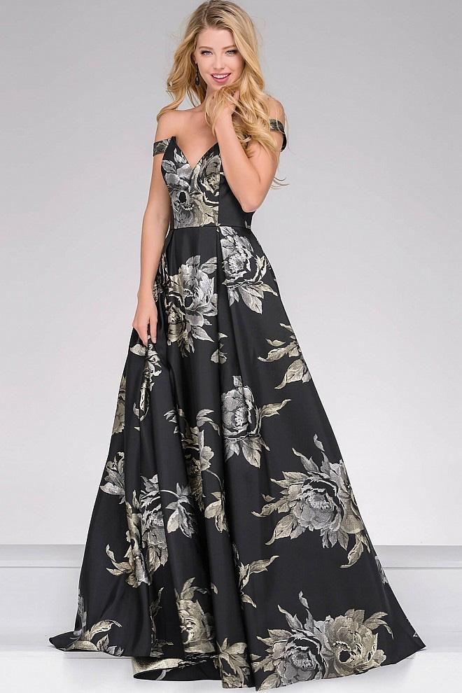 Jovani - Off the Shoulder Flora Print Prom Ballgown 48361 in Black