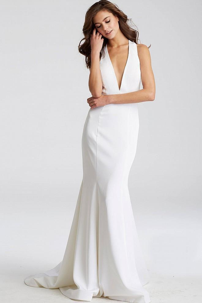 Jovani - Crisscross Bow Back Mermaid Dress JVN50333 In White