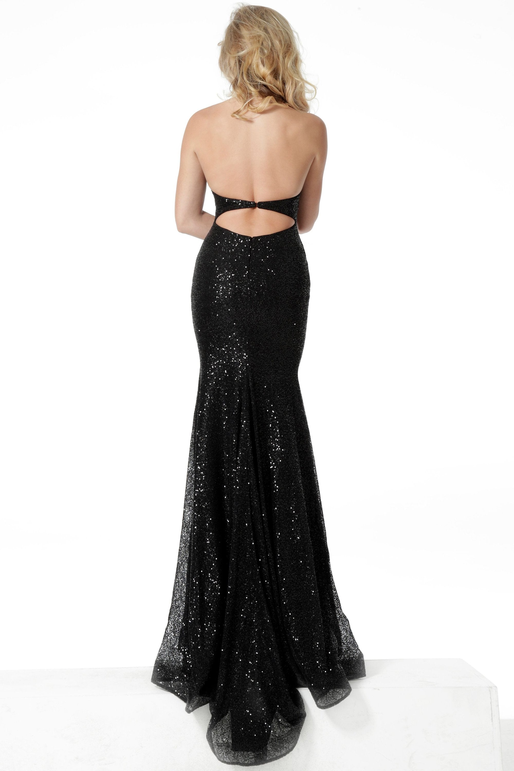 Jovani - 55184 Embellished Halter V-neck Trumpet Dress In Black