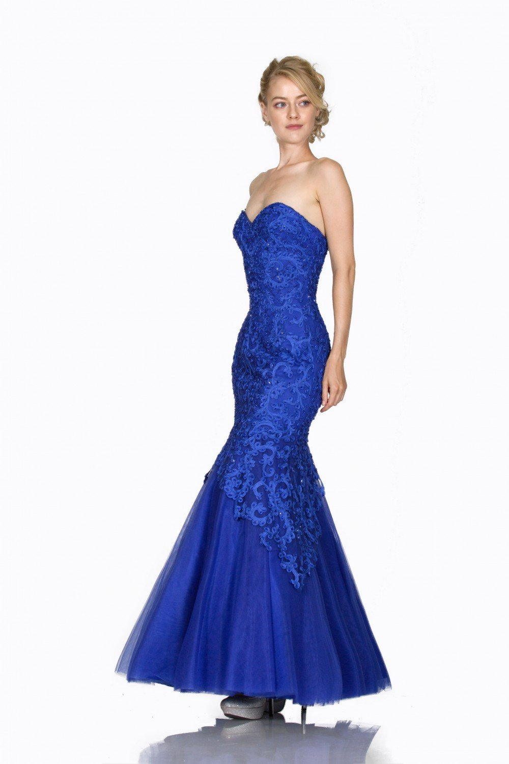Cinderella Divine - KC1701SC Sweetheart Bodice Appliqued Mermaid Dress