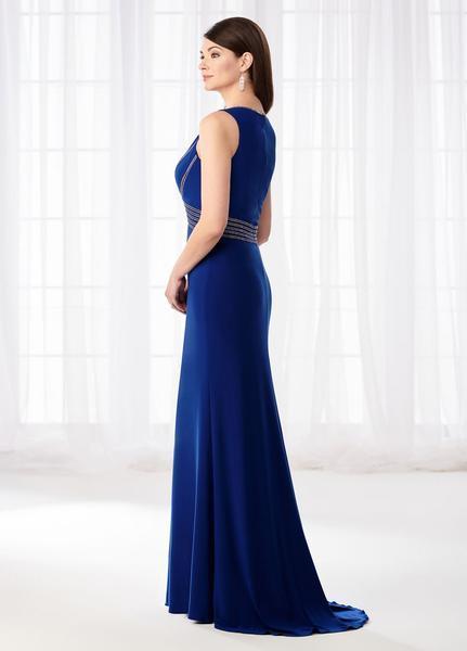 Mon Cheri - Cameron Blake - Beaded Bateau Neck Jersey Sheath Dress 218631 In Blue