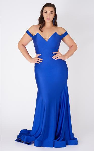MNM COUTURE - Tapered V Neck Mermaid Gown L0044 In Blue