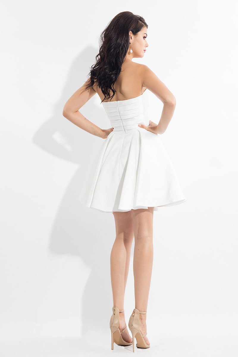 Rachel Allan LBD - L1137 Strapless Pleat Accented A-Line Dress in White