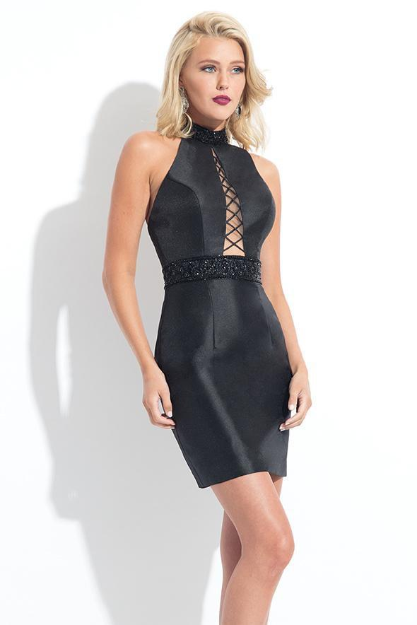 Rachel Allan LBD - L1146 Embellished Halter Sheath Dress in Black